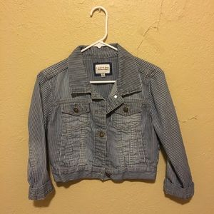 Blue and White Pinstripe Cropped Jean Jacket